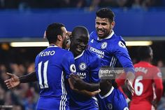 Chelsea's French midfielder N'Golo Kante (2L) celebrates scoring their fourth goal during the English Premier League football match between Chelsea and Manchester United at Stamford Bridge in London on October 23, 2016. / AFP / GLYN KIRK / RESTRICTED TO EDITORIAL USE. No use with unauthorized audio, video, data, fixture lists, club/league logos or 'live' services. Online in-match use limited to 75 images, no video emulation. No use in betting, games or single club/league/player…
