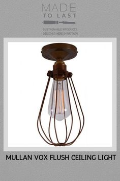 This Mullan Vox Flush Ceiling Light is designed and manufactured in Ireland. The vintage style cage originally used to protect the bulb in an industrial workplace it is now also a stylish decorative lighting piece for any building. Modern Flush Ceiling Lights, Vintage Style, Vintage Fashion, Decorative Lighting, Light Decorations, Industrial Style, Workplace, Cage, Ireland