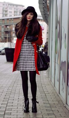 Houndstooth. Poland street style: Cute winter gear.