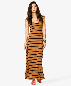 Striped Maxi Dress Forever 21 Camel Black Sz S | eBay