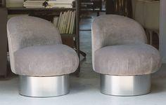 Milo Baughman Swivel Pouf Chairs 2