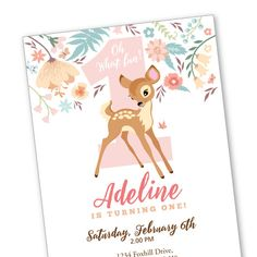 Baby Deer First Birthday Party Invitation by crazyfoxpaper on Etsy