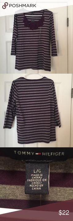 NWT! Cute Tommy Hilfiger Striped Purple Shirt! NWT! Cute Tommy Hilfiger Striped Purple Shirt! Size: L. The shirt is 94% cotton and 6% elastic. 3/4 sleeve. Tommy Hilfiger Tops Tees - Long Sleeve