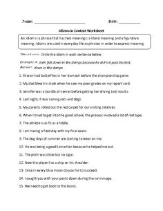 Idioms in Context Worksheet