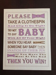 Baby Shower Game: Don't Say Baby Sign by PinkFlamingoParties