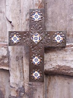 Sale Mexican Cross  Talavera and Metal crafted by hand by artisan religious decoration home decor. $39.00, via Etsy.