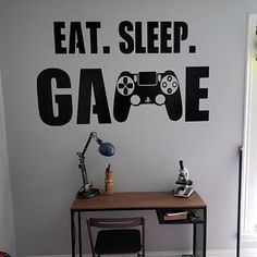 Gamer wall decal Eat Sleep Game Controller video game wall decals Customized For Kids Bedroom Vinyl Wall Art Decals Boys Room Decor, Boy Room, Kids Room, Wall Decal Sticker, Vinyl Wall Decals, Gamer Bedroom, Home Organization Hacks, Key Holders, Game Controller