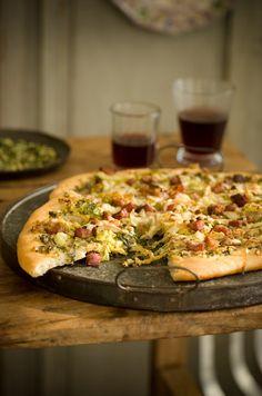 Pesto, Cabbage, Gruyere & Pancetta Pizza.  Dinner?  I think so!  Recipe from @Sweet Paul Magazine.