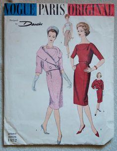"""1950's Vogue Paris Original Suit and Blouse - Bust 34"""" - UNCUT - Jean Dessès - No. 1452 by backroomfinds on Etsy"""