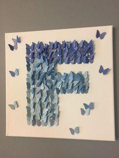 Items similar to 3D Butterfly Wall Art , Shiny Blue Ombre, Alphabet Letter F, Nursery Art on Etsy