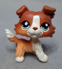 Littlest Pet Shop Dog Collie Figure Brown Red Whit Blue Eyes #1542 LPS NO Magnet