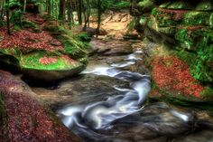 April evening along the stream through Old Man's Cave in Hocking Hills Ohio by Jim Crotty