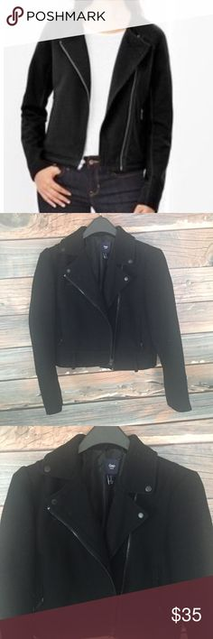 Black Moto Jacket Gap S Great used condition. Slightly cropped. I think it fits more like an XS so I labeled this listing as such. Very warm and fashionable! Let me know if you have any questions and check out the rest of my closet. Bundle for a HUGE discount!  #gap #zipup #jacket #croppedjacket #wool #warmcoat #fashionable GAP Jackets & Coats Pea Coats
