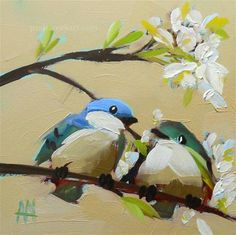 """""""Two Cerulean Warblers and Apple Blossoms Painting"""" - Original Fine Art for Sale - © Angela Moulton"""