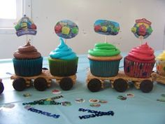 This is from my son's Chuggington Bday party! Girl Train Birthday, Trains Birthday Party, Baby Boy 1st Birthday, Minion Birthday, Train Party, 1st Boy Birthday, 3rd Birthday Parties, Birthday Ideas, Chuggington Birthday