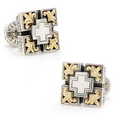 Konstantino 18k Gold Etched Pillars Maltese Cross Cufflinks