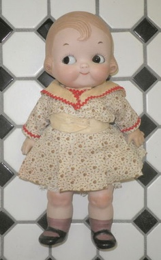 "Antique Vintage All Bisque 11"" GOOGLY EYE DOLL Kewpie Campbells Kid Type *XLNT 