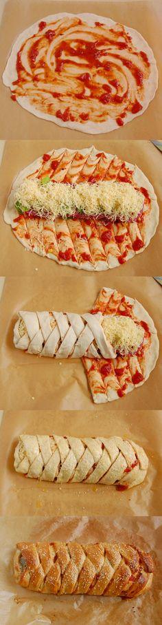 Stromboli to rodzaj zawijanej pizzy, w sieci można znaleźć różne sposoby jej zawijania ja użyłem moim zdaniem ten najbardziej ładnie wyglądający w wianek.Sam pomysł na taki zawijany wypiek pochodzi nie z Włoch lecz z Stanów Zjednoczonych. Podstawą jest ciasto dokładnie takie same jak do pizzy. Składniki do nadzienia można samemu zmienić.