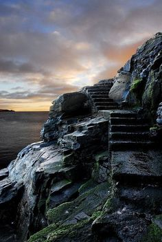 Stairways to the Sunset on Shetland Island