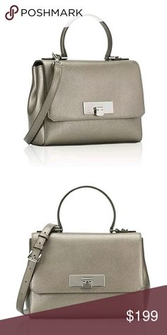 """MICHAEL KORS   Callie Messenger Satchel * MATCHING WALLET LISTED SEPARATELY! * Saffiano leather * Color: Nickel (like metallic pewter) * Flap messenger bag w/metal clasp closure. * Single handle w/4"""" drop * Silver toned Michael Kors plated logo on front * Full slip pocket in back w/magnetic snap closure * Interior: 1 zippered/4 multifunctional pockets * MK signature lining * Appx 9.75""""W (at base) x 7.5""""H x 3""""D * Crossbody removable/adjustable strap - drop 18-22""""  Reasonable offers…"""