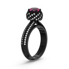 Decorum 14K Black Gold 1.0 Ct Pink Sapphire by DecorumRings