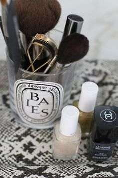 old diptyque candles- good idea for storage!