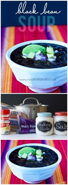 Restaurant-Style Black Bean Soup Recipe. Made from scratch and SO delicious! | www.foodfolksandfun.net | #SouperJanuary #FromScratch