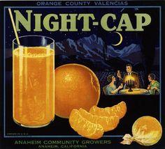 california fruit and vegetable crate labels | Anaheim Night-Cap Orange Citrus Crate Label Art Print