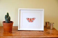 Butterfly print / picture. An art print of the beautiful Peacock butterfly taken from an original watercolour drawing of mine. Butterfly illustration. Nature artwork.