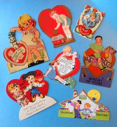 Selection of vintage Valentines from the 1930's to Lorna May.