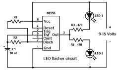 555 timer LED flasher circuit