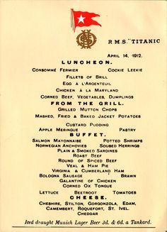 Lunch menu from the last night on the Titanic