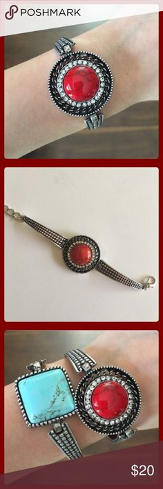 Clearance Red Turquoise Circle Stone Bangle! ✨Beautiful Red Turquoise Large Circle Stone Bangle Surrounded by Crystals! The Bangle has a Beautiful Silver & Black Design! Has a lobster clamp & is adjustable. 18k plated metals. Nickel & Lead Free! Great to wear by itself as well as with other Blue Turquoise Bangle I have listed - see picture above!✨ T&J Designs Jewelry Bracelets