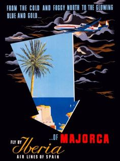 Espana-Iberia-Spain-Spanish-Majorca-Europe-Vintage-Travel-Advertisement-Poster