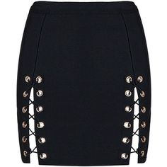 Honey couture kyla black lace up split bandage mini skirt (200 AUD) ❤ liked on Polyvore featuring skirts and mini skirts