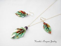 Set of Origami Leaf Earrings & Necklace with by KumikosOrigami, $48.25