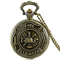 Vintage Bronze Fire Fighters control Quartz Pocket Watch Fob Necklace Pendant Gift #>=#>=#>=#>=#> Click on the pin to check out discount price, color, size, shipping, etc. Save and like it!