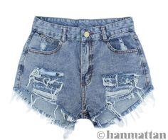 "ALL SIZES ""RAVEL"" Vintage high waisted denim shorts blue distressed frayed jeans"