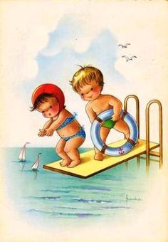 Shabby Beautiful Scrapbooking    Cute kids on diving board vintage image for cards and scrapbooks