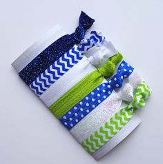Green/Blue/White Elastic Hair TiePonytail by PrettyMessyShop, $9.00