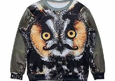 S-ZONE 3D Owl Animal Sweatshirts Space Printing pullovers T shirt Top Tee No description (Barcode EAN = 0633155307719). http://www.comparestoreprices.co.uk/mens-clothes/s-zone-3d-owl-animal-sweatshirts-space-printing-pullovers-t-shirt-top-tee.asp