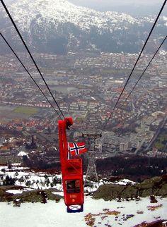 cable car to Ulriken - Bergen, Hordaland, Norway