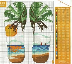 Ниточка - иголочка: Вышивка крестом Cross Stitch Sea, Cross Stitch Bookmarks, Cross Stitch Flowers, Cross Stitching, Cross Stitch Embroidery, Cross Stitch Patterns, Back Stitch, Tapestries, Flip Flops