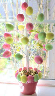 DIY Target Dollar Easter Tree ~ plus Spring & Easter Decor & Fun Crafts for the Kids. (NOTE TO AJ: love the eggs around top of clay pot) Spring Crafts, Holiday Crafts, Fun Crafts, Party Crafts, Tree Crafts, Diy Christmas, Hoppy Easter, Easter Eggs, Easter Bunny