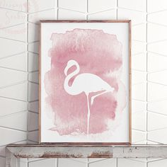 Pink Flamingo Decor Art, Printable Flamingo Party Decor, Blush Pink Wall Art, Tropical Bird Decor, F Flamingo Painting, Flamingo Decor, Flamingo Print, Pink Flamingos, Flamingo Party, Pink Wall Art, Wall Art Decor, Watercolor Bird, Watercolour Drawings