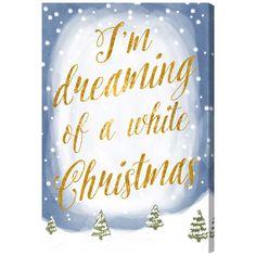 Oliver Gal Artana White Christmas Textual Art on Canvas