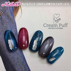 CreamPuffさんのフェザー,ネイビー,ブラック,ブルー,ワンカラーネイル♪[2115775]|ネイルブック