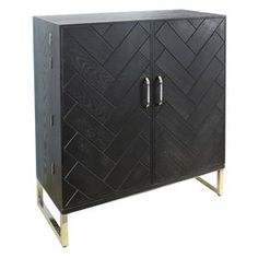 Picture of Black Wood Bar Cabinet with Metal Legs