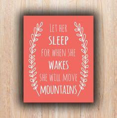 4x6 and 8x10 coral Nursery quote INSTANT download by PrintableHome, $5.00