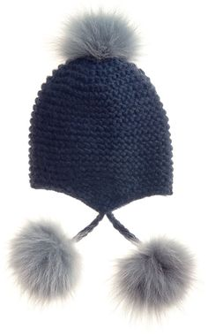 $210, Navy Beanie: Inverni Fur Pom Pom Knit Beanie Navy. Sold by Neiman Marcus. Click for more info: https://lookastic.com/women/shop_items/101187/redirect